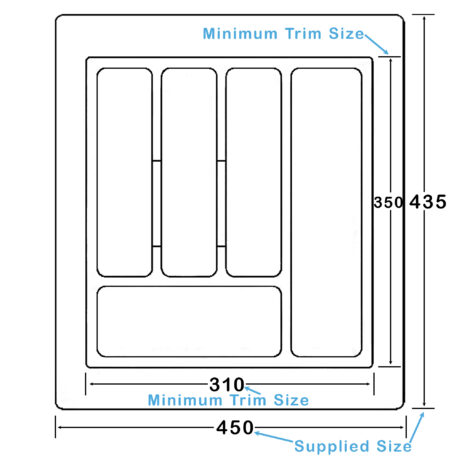 Kimberley White Plastic Cutlery Drawer Insert 450mmx435mm Dst Ct1 Diagram