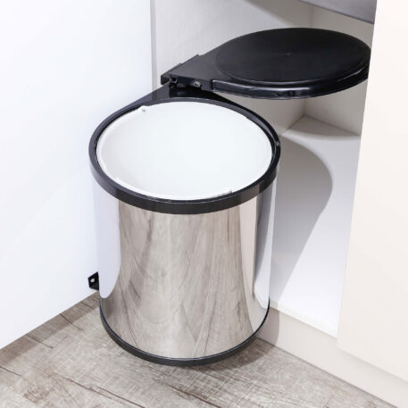 Furnware Dorset Deluxe 11 Litre Stainless Steel Black Swing Out Kitchen Waste Bin Dst W27 Ssbl Installed