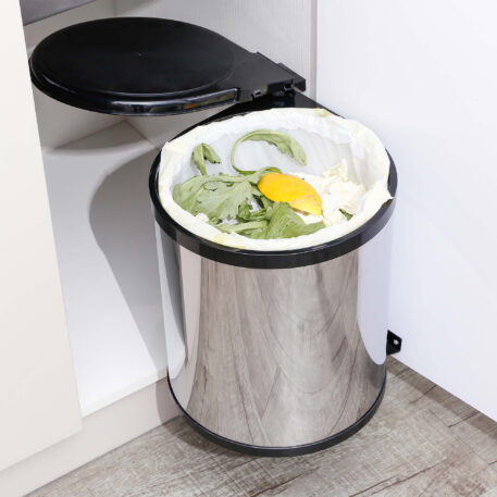 Furnware Dorset Deluxe 11 Litre Stainless Steel Black Swing Out Kitchen Waste Bin Dst W27 Ssbl Installed1