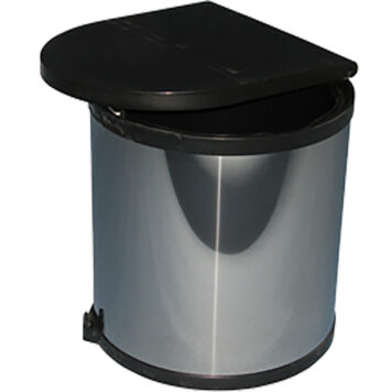Furnware Dorset Deluxe 11 Litre Stainless Steel Black Swing Out Kitchen Waste Bin Dst W27 Ssbl2